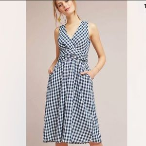Anthropologie 4OUR DREAMERS Grecca Gingham Midi Dress W/ Pockets Navy Blue White